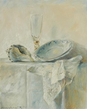 Still life in white and blue